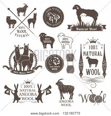 Wool labels and design elements. Logo set of sheep alpaca rabbit and goat wool. Signs and emblems for natural wool products.