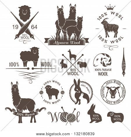 Wool labels signs and design elements. Logo set of sheep alpaca rabbit and goat wool. Stickers and emblems for natural wool products.