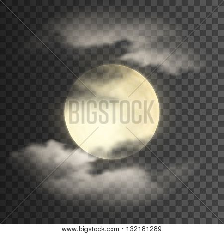 Realistic deatailed full moon with clouds isolated on transparent background. Eps10 vector illustration, easy to use.