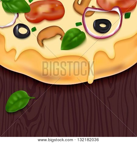 Tasty Vector Pizza on Wooden Table. Fast Food Delicious Background. Realistic Snack Illustration. Colorful Design Concept for Pizzeria Menu Web Banners or Packaging.
