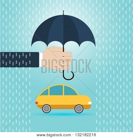 hand with umbrella protect car insurance concept flat vector illustration