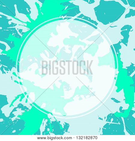 Template with semi-transparent white circle over bright aqua green artistic paint splashes.