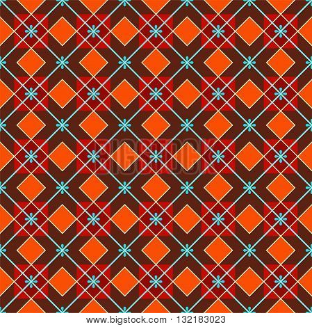 Vector color geometric pattern of red squares and blue flowers on a brown background. For the decoration.