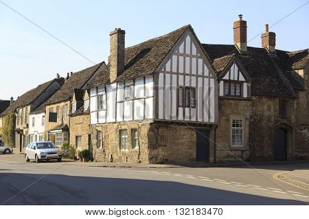 Old houses in the pretty village of Lacock in Wiltshire UK