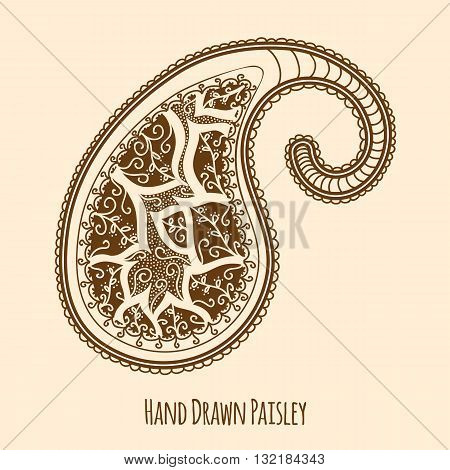 Elegant Hand Drawn Paisley. Easy to manipulate, re-size or colorize.