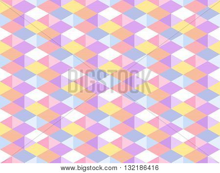 Vector Pastel Colored Geometric Seamless Pattern. Isometric Carnival Party Background. Kaleidoscope Faceted Texture