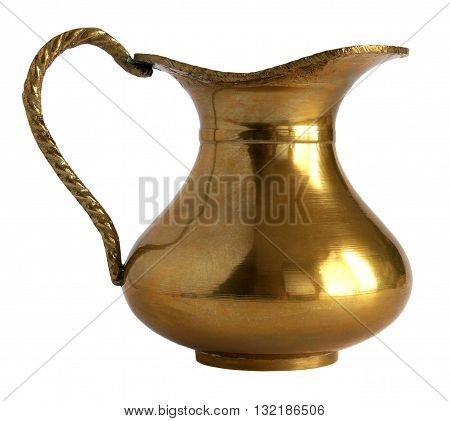 Antique brass pitcher isolated on white background