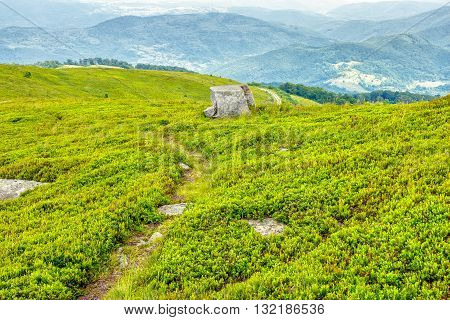 Path Through Hillside In High Mountains