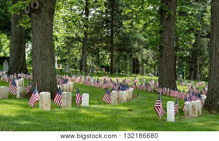 Old American Civil War Cemetery Area with Flags