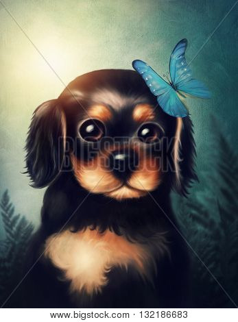 Little puppy dog with butterfly