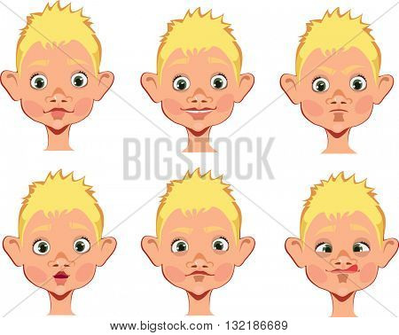 different expressions of boy face