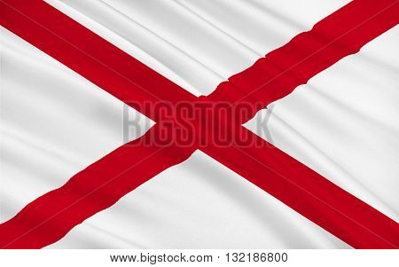 Flag of Alabama is a state located in the southeastern region of the United States