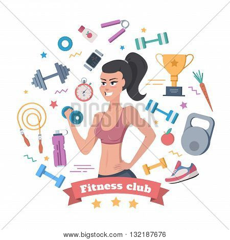 Fitness Club for Women vector tools for sports and fitness. Set of sport icons.