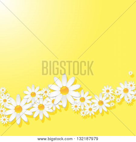 Yellow pattern with white daisies with shadow