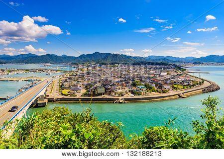 Senzaki, Nagato, Yamaguchi Japan town skyline.