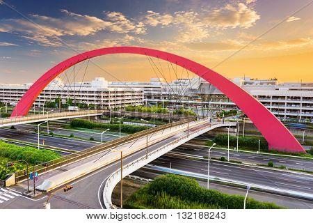 Haneda Airport terminals and roads in Tokyo, Japan.