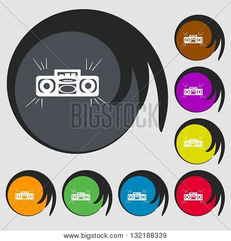 Radio Cassette Player Sign Icon. Symbols On Eight Colored Buttons. Vector
