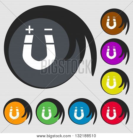 Horseshoe Magnet, Magnetism, Magnetize, Attraction Sign Icon. Symbols On Eight Colored Buttons. Vect