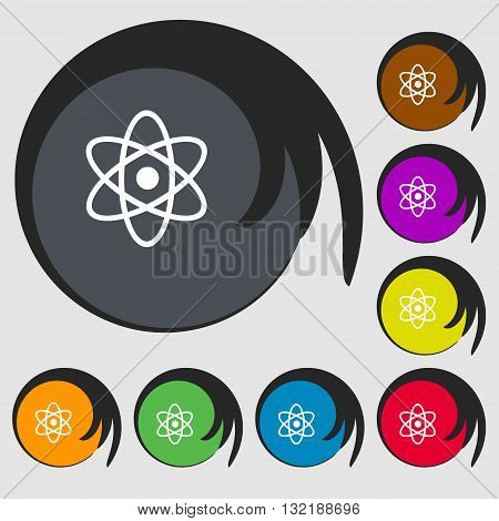 Atom, Physics Sign Icon. Symbols On Eight Colored Buttons. Vector