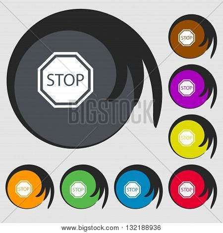 Stop Sign Icon. Symbols On Eight Colored Buttons. Vector
