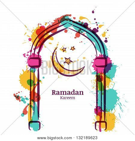 Ramadan Kareem Vector Watercolor Background With Colorful Moon And Stars In The Window. Greeting Car