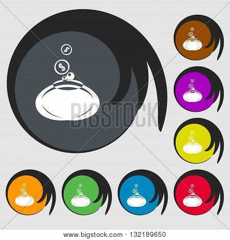 Retro Purse Sign Icon. Symbols On Eight Colored Buttons. Vector