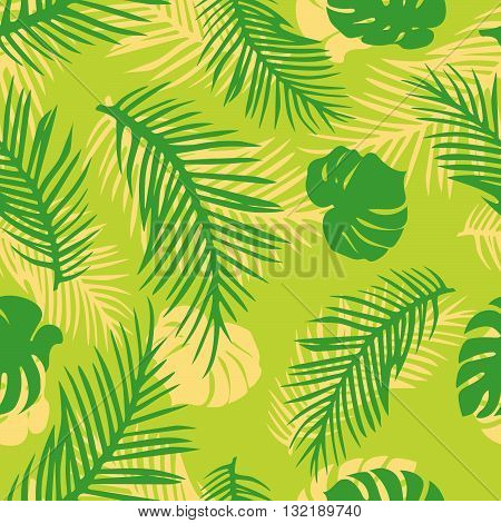 Vector Seamless Pattern with Tropical Leaves. Green Palm ang Monstera Leaves on Bright Background.