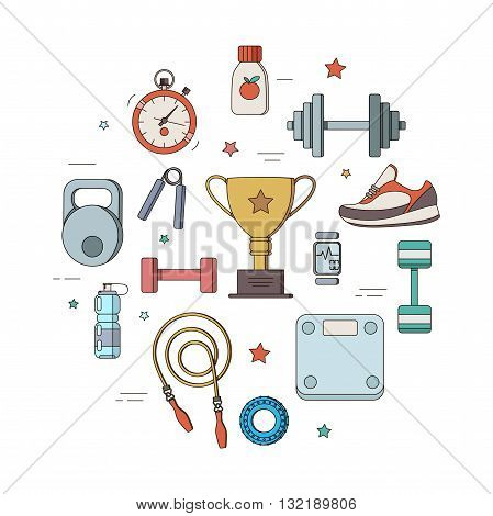 Line icons fitness club. Vector illustration of-fitness tool