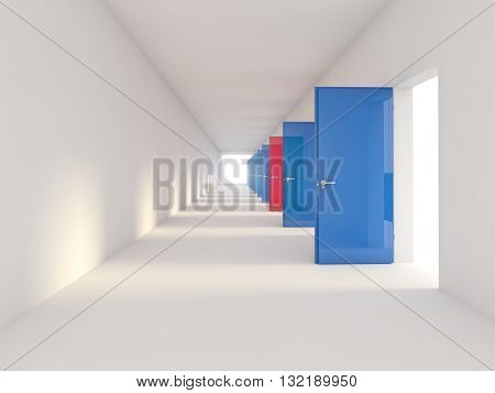 3d image of blue and red doors