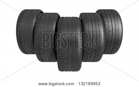 3d classic tyre on white