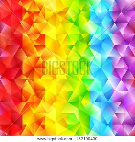Abstract Faceted Geometric Shiny Background. Vector Rainbow Colored Diamond. Sparkling Beautiful Backdrop with Triangles. Glowing Spectrum Stripes.