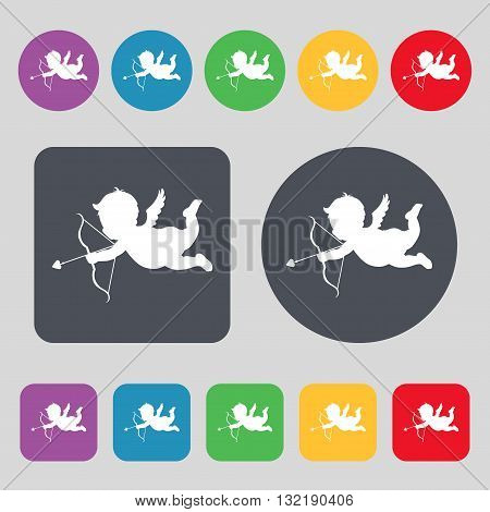 Cupid Icon Sign. A Set Of 12 Colored Buttons. Flat Design. Vector