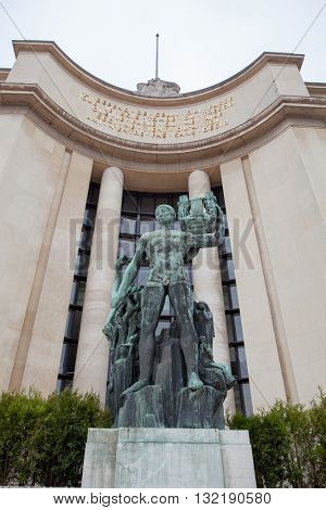 Paris, France - May 22, 2012 : statue at the Palais de Chaillot from Trocadero, Paris, France