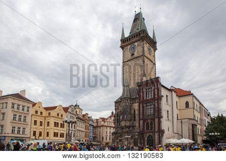 Prague, Czech Republic -July 22, 2012: Old Town Hall with astronomical clock. Old town square, Prague, Czech Republic