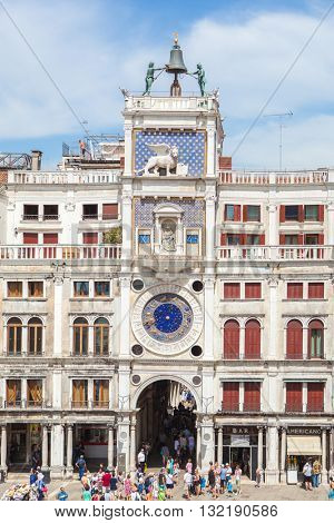 Venice, Italy - July 22, 2014: Clock tower on the Piazza San Marco . Editorial