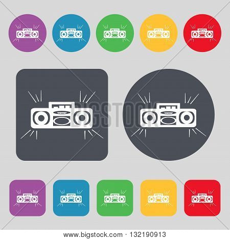 Radio Cassette Player Icon Sign. A Set Of 12 Colored Buttons. Flat Design. Vector