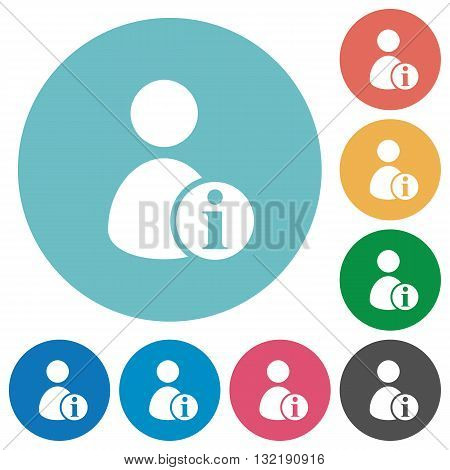 Flat user information icon set on round color background.