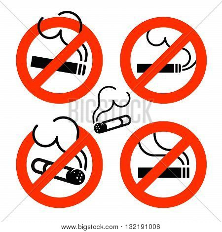 Cigarette icons set. No Smoking prohibition sign. Nicotine. Vector illustration