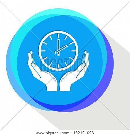 clock in hands. Internet template. Vector icon.