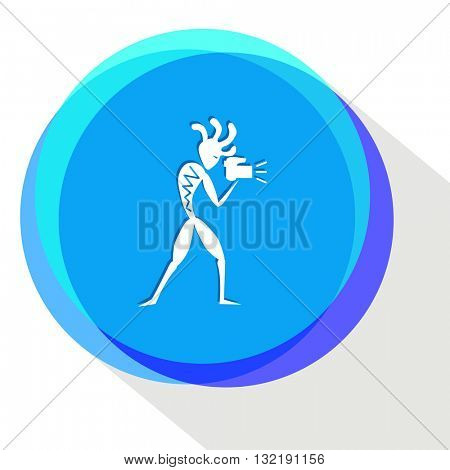 ethnic little man with camera. Internet template. Vector icon.