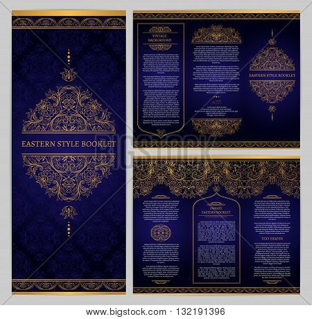 Vector brochure with ornate vintage ornament. Booklet with seamless borders, eastern style decor. Template frame for brochure, invitation, page layouts, leaflet. Golden pattern on dark blue background