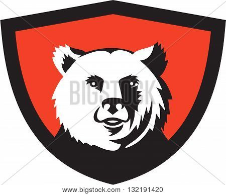 Illustration of a California grizzly North American brown bear head smiling viewed from front set inside shield crest on isolated background done in retro style.