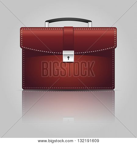 Red briefcase on the gray background. Vector Illustration.