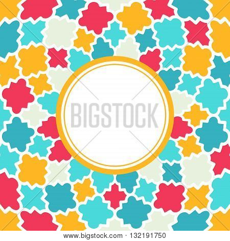 Round frame with Multicolor Quatrefoil pattern. Colorful quatrefoil shapes bright colors - red turquoise yellow. Holiday vector background.