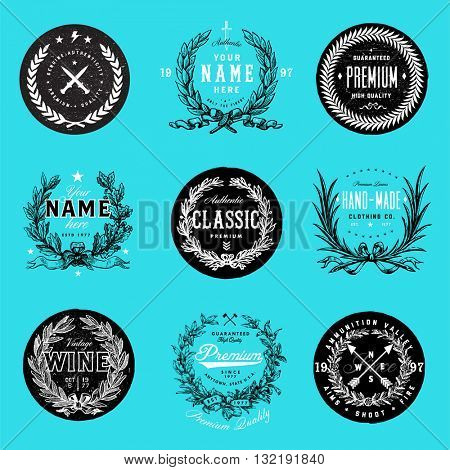 Easy to edit! Vector Wreath Logo Template Set. Great for gift certificate, badges, ornaments, diplomas, certificates, and awards.