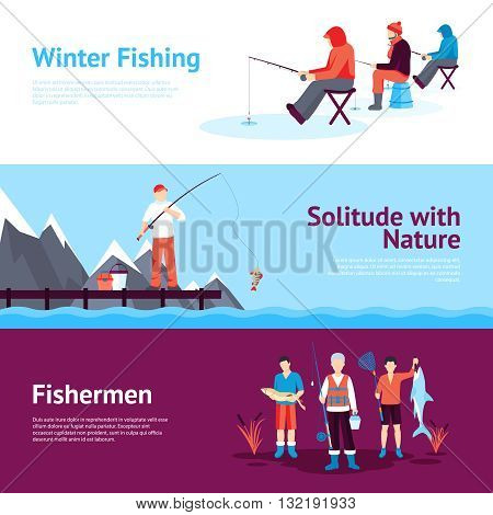 Solitude and nature outdoor activities 3 flat horizontal banners set with ice fishing abstract isolated vector illustration