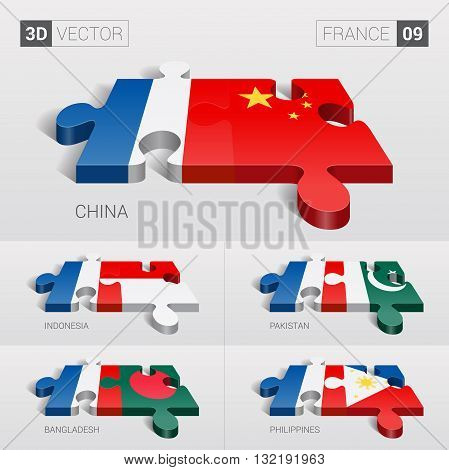 France and China, Indonesia, Pakistan, Bangladesh, Philippines Flag. 3d vector puzzle. Set 09.
