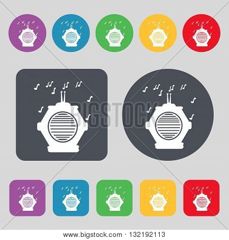 Old Analog Radio Icon Sign. A Set Of 12 Colored Buttons. Flat Design. Vector