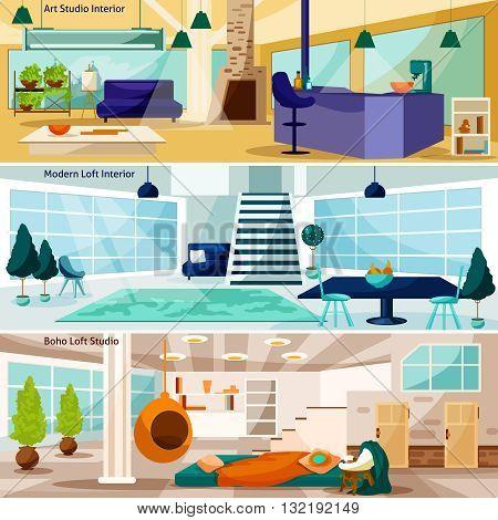 Loft Stidio Interiors Flat Concept. Loft Stidio Interiors Horizontal Banners. Loft Stidio Interiors Vector Illustration. Loft Stidio Interiors Isolated Set. Loft Room Interiors Design Symbols.