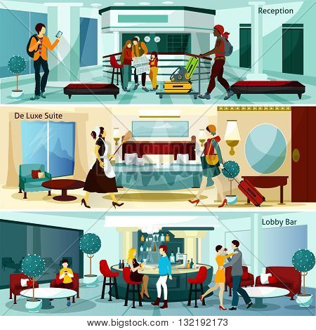 Hotel Interior And People Flat Concept. Hotel Interior Horizontal Banners. Hotel Interior Vector Illustration.Hotel Interior Compositions Isolated Set. Hotel Interior Design Symbols.